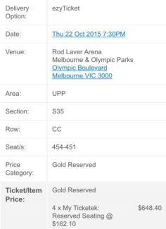 Robbie Williams 22/10/15 Rod Laver Melbourne 4 tix Wentworth Falls Blue Mountains Preview