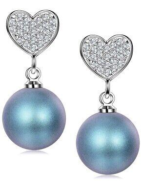 J. RENEÉ Heart Pearl Earrings 925 Sterling Silver Stud Earrings Women Gift