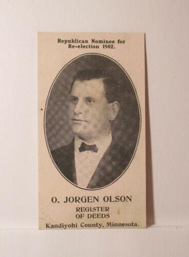 1902 Election Card O. JORGEN OLSON Republican REGISTER OF DEEDS Kandiyohi Co MN