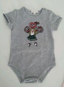 NWT-Gucci-Baby-girls-gray-romper-bodysuit-sport-ballerina-print-shirt-9-12-m