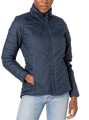 New Womens The North Face Full Zip Mossbud Navy Insulated Reversible Jacket XS