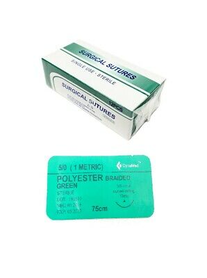 50 Training Surgical Sutures Polyester Braided With Needle 12 Pack Sterile