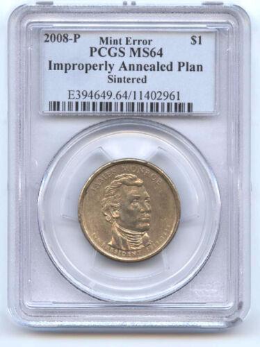 2008-p Monroe Dollar ($1) Improperly Annealed Planchet Sintered-pcgs Ms64-rare
