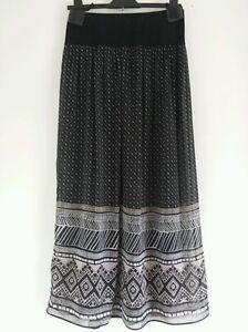 PER-UNA-M-S-Aztec-Print-Diamond-Check-Chiffon-Black-Midi-Maxi-Skirt-8-10-12-14
