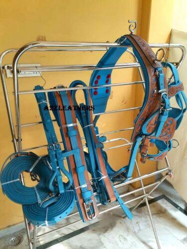 Designer Natural/Blue color Leather Carved Driving harness for single horse cart