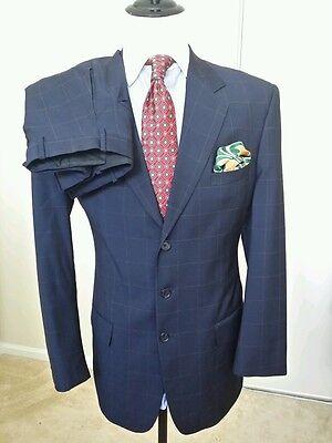 Bespoke MAYFAIR COLLECTION  Navy Blue Windowpane Wool 3-Btn Suit sz 40L Pant W37
