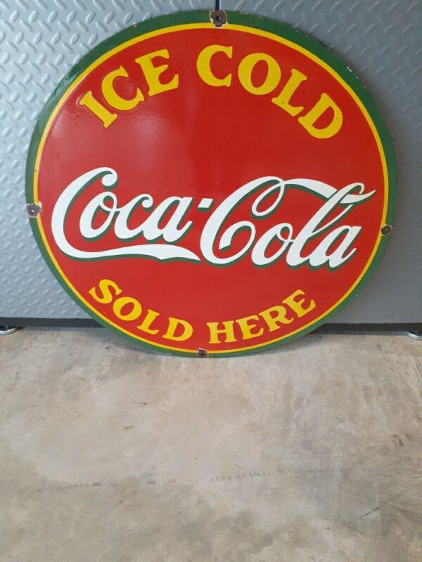 """c.1950s Vintage Original Drink Coca Cola Sign Porcelain  Soda Gas Station 30"""""""
