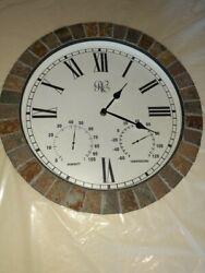 River City Tile Indoor/Outdoor 15 in. Wall Clock w/ Temperature & Humidity