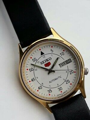Vintage Gold Seiko 5 Automatic Day Date White Face Rare homage mechanical bargin