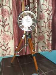 Home Decor Nautical 18 Brass Table Desk Clock With Wooden Tripod Table Top Clock