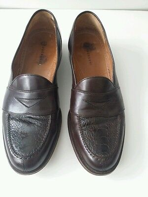 Men's Magnanni Genuine Ostrich  Brown Penny Loafers 9.5 B Made in Spain