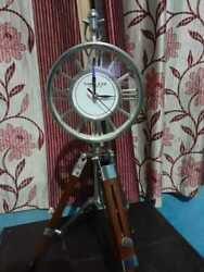 Nautical 18 Brass Table Top Clock With Wooden Tripod  Decor Table Top Clock