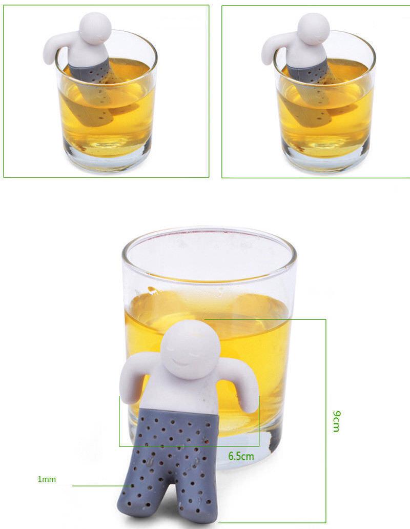 Hot Teezange Teefilter Teesieb Tassensieb Küchenhelfer Tee Männchen Teeei