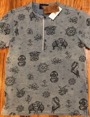 NWT RRL Double RL Ralph Lauren US NAVY INDIGO Henley Shirt T-shirt Men XL $225