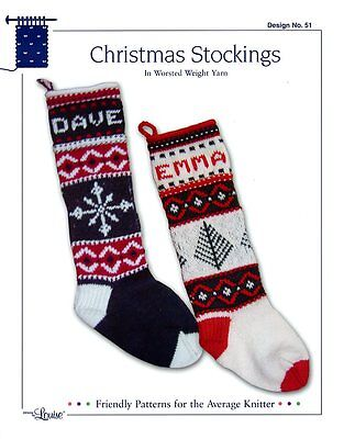 Design by Louise Knitting Pattern #51 Christmas Stockings in Worsted Weight Yarn