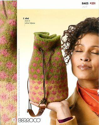 Berroco Bags #251 Knitting Pattern Book -8 Knit & Felt Designs Purses Totes Bags ()