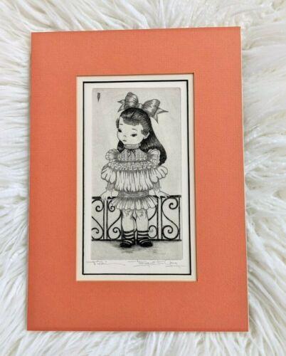 "Vintage Original Signed Margaret Ann Gaug ""Nicki"" Matted Etching, Chicago Artist"