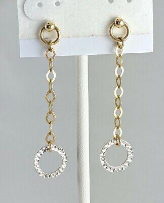 14K Solid Gold SLC Diamond-Cut Circle Chain Door Knocker Dangle Earrings 1.6gm