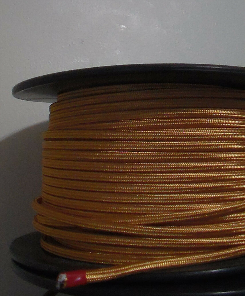 Gold Parallel Rayon Covered Wire Antique Vintage Style Cloth Lamp Lights Cord