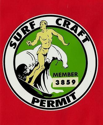 Surfboard Permit Sticker Decal LONGBOARD Vintage Surfing Memorabilia Surf