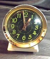 TOZAJ WIND UP ALARM CLOCK BIG BEN STYLE NEON GREEN GLOW  - 5 1/4 HI WORKS