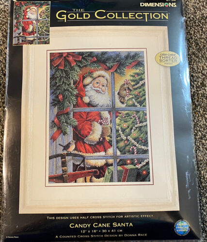 DIMENSIONS 8734 Candy Cane Santa Counted Cross Stitch Kit Christmas Holiday - $25.95