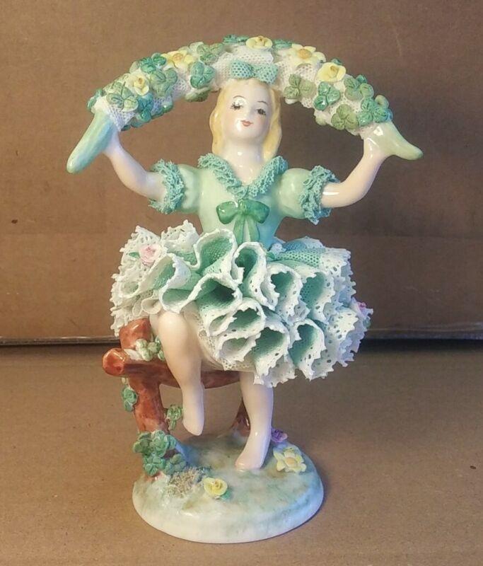 """Irish Dresden Muller Volkstedt Dancing in the Shamrock Garden 6"""" Figurine"""