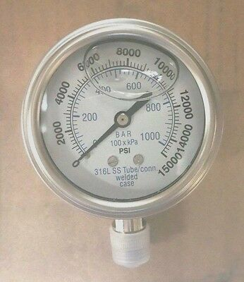 301lfw-254v 2.5 Glycerin Filled Ss 316 Internals Gauge 14 Npt Lm 015k Psi