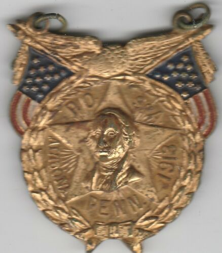 1913 Altoona PA P.O.S. OF A. Patriotic Order Sons Of America Washington Badge