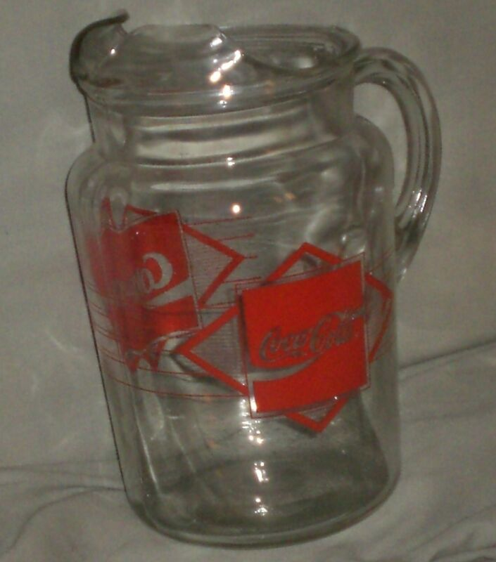 Very Nice Vintage Heavy Glass Coca-Cola Large Pitcher