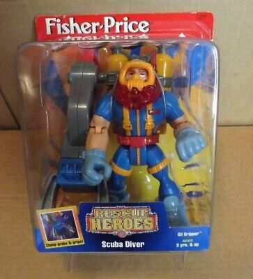RESCUE HEROES GIL GRIPPER SCUBA DIVER NEW ON CARD 1997 FISHER PRICE