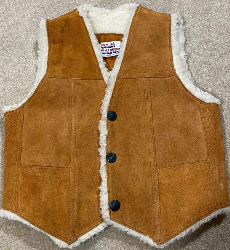 Vintage Baja California Kids Tan Leather Fleece Lined Vest Size Small (3/4)