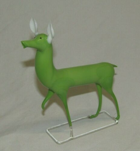 German Antique Lime Green Bimini Art Glass Deer Vintage Christmas Ornament 1930s
