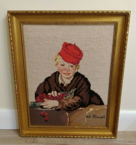 """VINTAGE PORTRAIT OF A BOY WITH FRUIT NEEDLEPOINT ART PIECE SIGNED """"ED  MANET"""""""