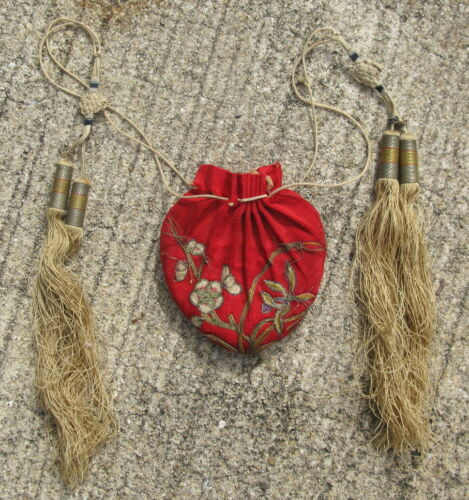 Antique Chinese embroidered scent purse belt pouch red silk chain stitch 2.5x3in