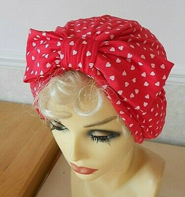 1940's 50's VINTAGE STYLE TURBAN HAT RED WHITE WW2 LAND GIRL JIVE PIN UP