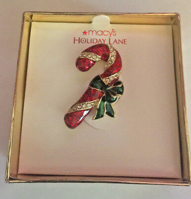 New Macy's Holiday Lane Christmas Candy Cane Pin Brooch Red w/ClearRhinestones
