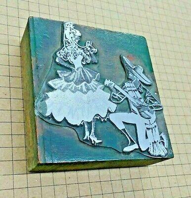 Senorita Dancer Mariachi  Letterpress Printer Block Kelsey Printing Press