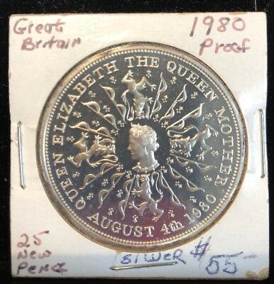 United Kingdom 25 new pence 1980 proof  Silver Queen Mother