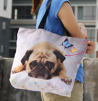 Soft Foldable Tote Cute Pug Women's Shopping Bag Shoulder Bag Lady Handbag Pouch for sale  Rowland Heights