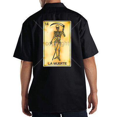 Dickies Mechanic Work Shirt La Muerte Card Number 14 Reaper Skull Death