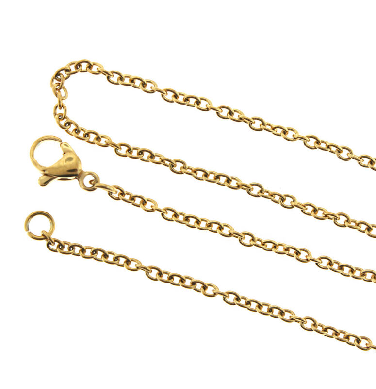 "Gold Stainless Steel Cable Chain Necklace 18"" - 2mm - 1 Necklace - N576"