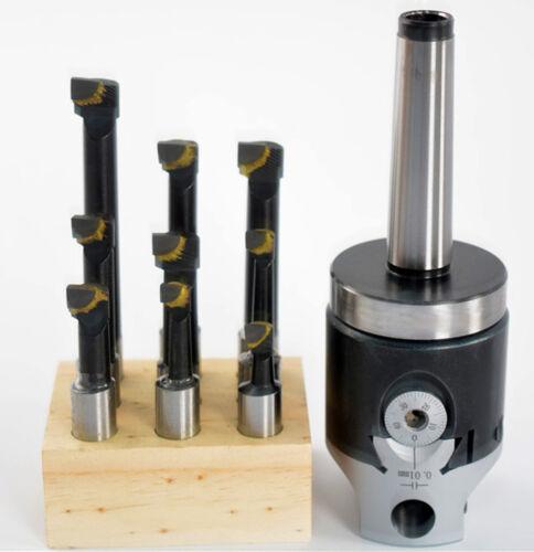 F1-12 boring head + 9pcs 12mm carbide boring tips with MT2 M10 1-1/2-18 shank