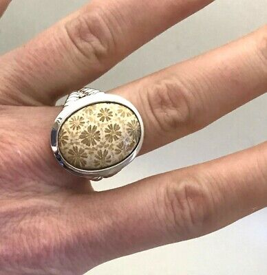 Floral Bouquet Pattern  Cabochon  Fossilized Jasper Sterling Silver Ring, Sz 8