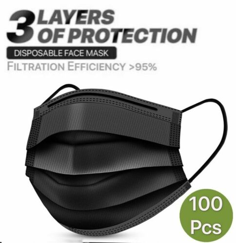 100 PCS Black Face Mask Mouth & Nose Protector Respirator Masks USA Seller Fast