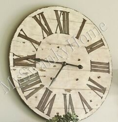 Large 36 Lanier COTTAGE Rustic Wood Wall Clock Neiman Marcus Lodge Ranch Light
