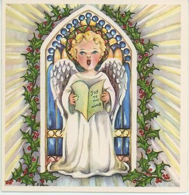 VINTAGE 1950'S BLONDE ANGEL CHILD SINGS JOY TO THE WORLD HOLLY BERRY CARD PRINT Baby Cards To Print