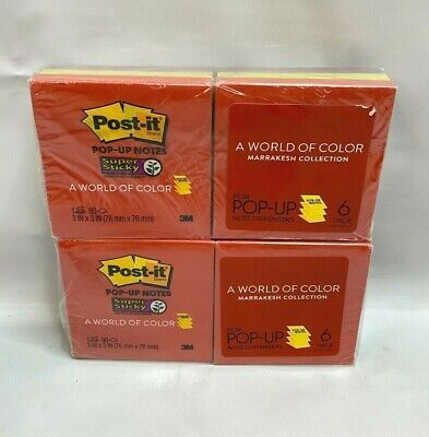 Lot Of 2 Post-it Pop-up Notes Super Sticky Marrakesh 3 X 3 6 Pads Per Pack