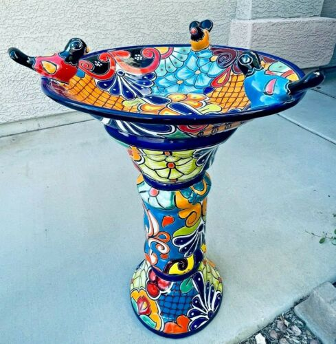 "Talavera Mexican Art Bird Bath Pottery Birdbath Large 27"" Folk Art Pedestal"
