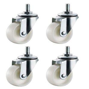 4x 40mm Nylon Castors Casters - M10 Stud - Swivel Wheels Furniture - Max 100kg